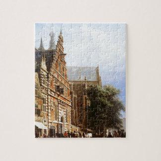 Vleeschhal and Grote Kerk in Haarlem by Cornelis Puzzle