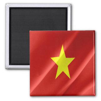 VN - Vietnam - Vietnamese Flag Waving 2 Inch Square Magnet