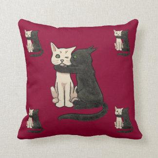 Vntage Cute Kissing Cat Couple Art Pillow