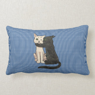 Vntage Cute Kissing Cat Couple Paw Pattern Cushion Throw Pillow