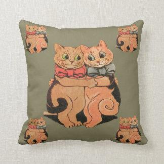 Vntage Wain Cuddling Cat Couple Art Pillow