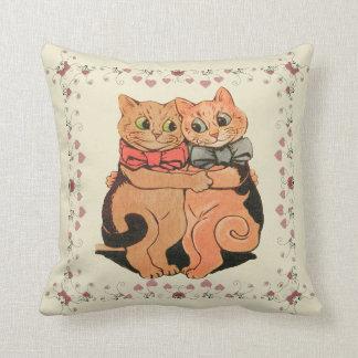 Vntage Wain Romantic Cat Couple Art Throw Pillow