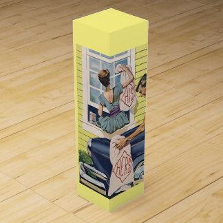 Vntg Retro His & Hers Housewarming Gift Wine Box