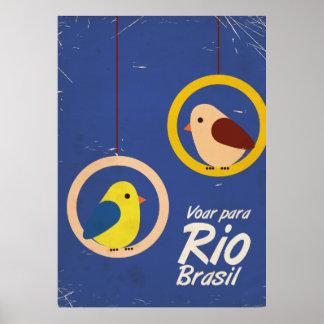 Voar para Rio, Brasil travel poster Blue version