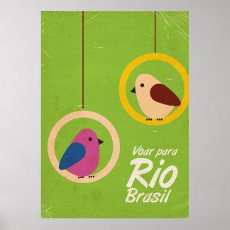 Voar para Rio, Brasil travel poster lime version