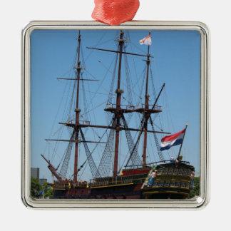 VOC de madera de la nave de la vela de Amsterdam - Adorno Navideño Cuadrado De Metal