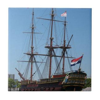 VOC de madera de la nave de la vela de Amsterdam - Azulejo Cuadrado Pequeño