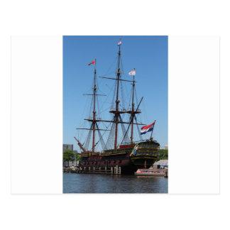 VOC de madera de la nave de la vela de Amsterdam - Postal