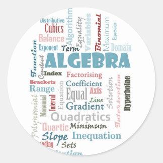 Vocabulario de la álgebra pegatina redonda