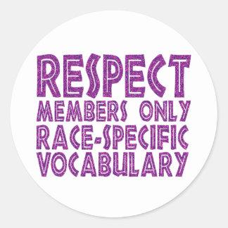 vocabulario del específico de la raza de los etiquetas redondas