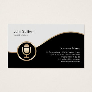 Vocal Coach Business Card Gold Microphone Icon