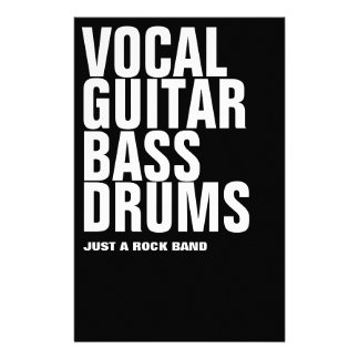 vocal, guitar, bass, drums... rock stationery