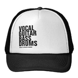 vocal, guitar, bass, drums... rock trucker hat