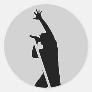 Vocalist Silhouette Classic Round Sticker