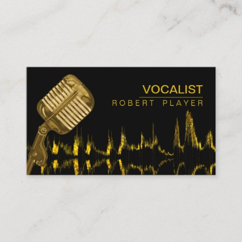 Vocalist Singer DJ Music Teacher Microphone Gold Business Card