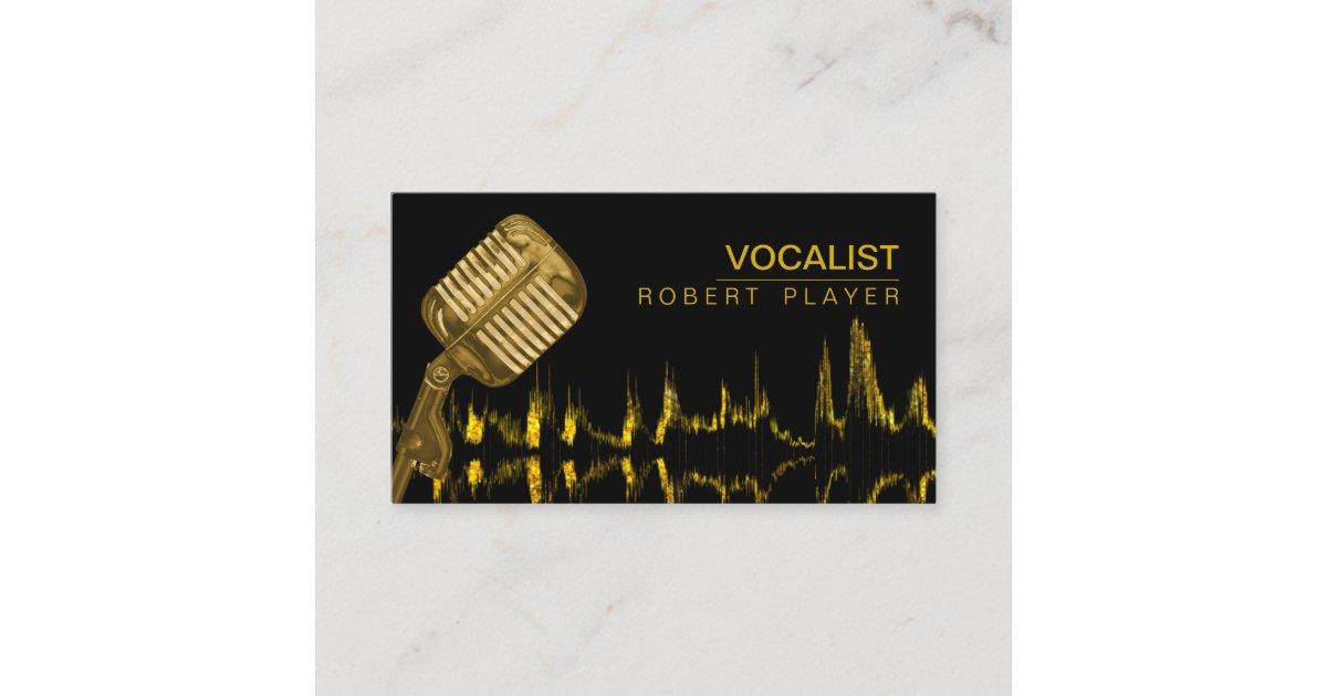 Vocalist Singer DJ Music Teacher Microphone Gold Business Card ...