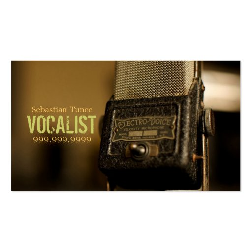 Vocalist, Singer, Performer, Music, Lessons Mic Business Cards