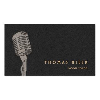 Vocalista retro fresco del logotipo del micrófono tarjetas de visita