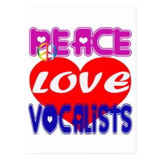 Vocalistas del amor de la paz postales