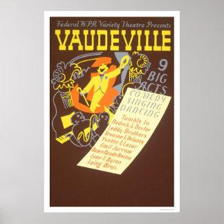 Vodevil 9 actos grandes WPA 1937 Póster