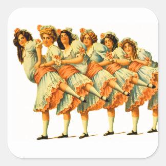 Vodevil de los bailarines de los chicas de baile pegatina cuadrada