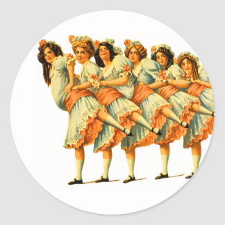 Vodevil de los bailarines de los chicas de baile pegatina redonda