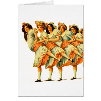 Vodevil de los bailarines de los chicas de baile tarjeta de felicitación