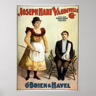 """Vodevil del vintage de """"O'Brien y de Havel"""" Póster"""