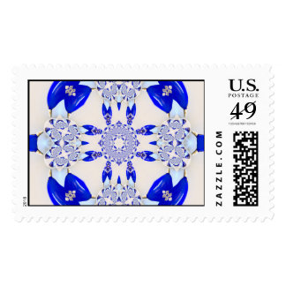 Vodka Bottle Royal Blue Glass Abstract Art Postage