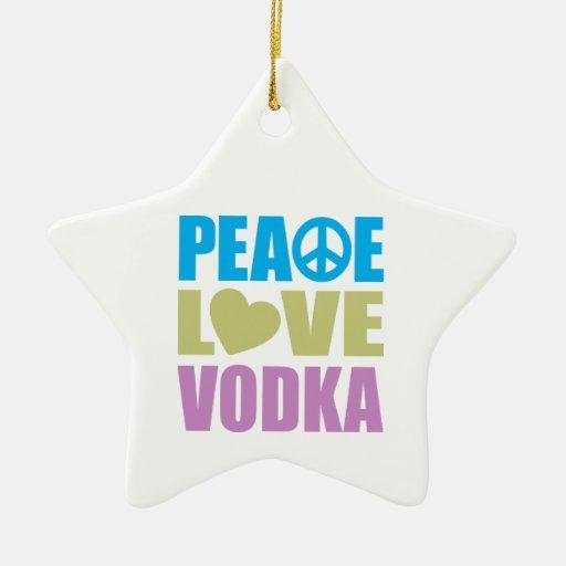 Vodka del amor de la paz ornamento de navidad
