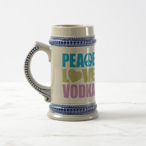 Vodka del amor de la paz jarra de cerveza