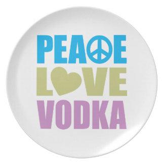 Vodka del amor de la paz platos de comidas