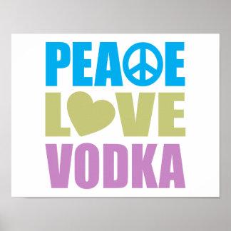 Vodka del amor de la paz póster