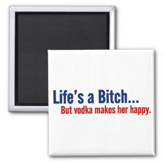 Vodka makes life happy 2 inch square magnet