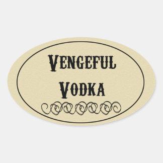 Vodka vengativa pegatina ovalada