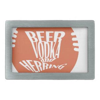 vodka y arenques de la cerveza hebillas cinturon rectangulares