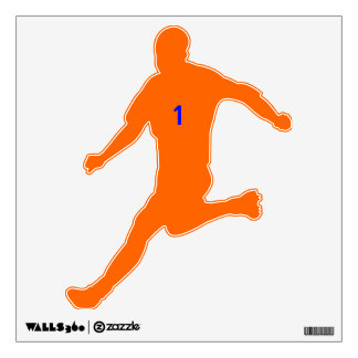 Voetballer oranje wall sticker