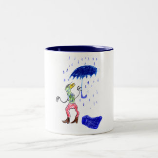 Vogel im Regen Two-Tone Coffee Mug