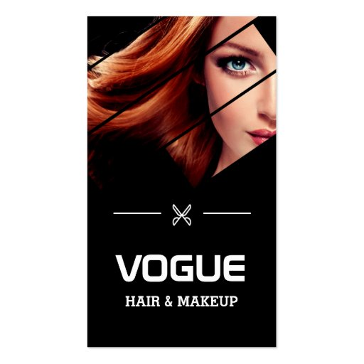 Vogue Girl Stylish Black White Fashion Hairstylist Business Card (front side)