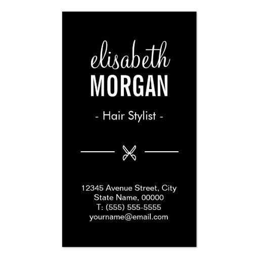 Vogue Girl Stylish Black White Fashion Hairstylist Business Card (back side)