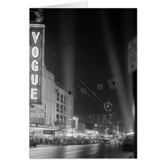 Vogue Theatre at night with spotlights Greeting Card