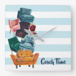 Vogue & Trendy Stacked Chairs Illustration Square Wall Clock