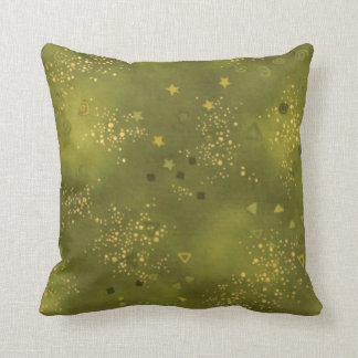 Voguish Green and Gold Throw Pillow