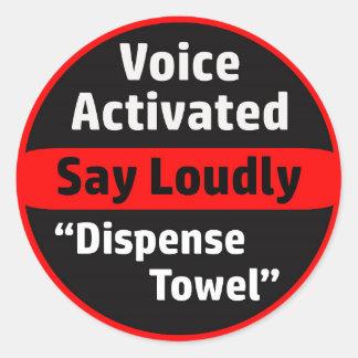 Voice Activated Paper Towel Dispenser Classic Round Sticker
