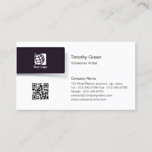 Voiceover artist business cards templates zazzle voiceover artist blacktab logo simple businesscard business card colourmoves