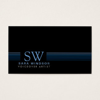 Voiceover Artist Entertainment SkiStriped Monogram Business Card