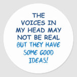 Voices in My Head Classic Round Sticker