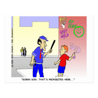 Void Graffiti Funny Police Cartoon Gifts & Tees Post Cards