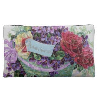 Voilet Rose Basket Floral Flowers Makeup Bag