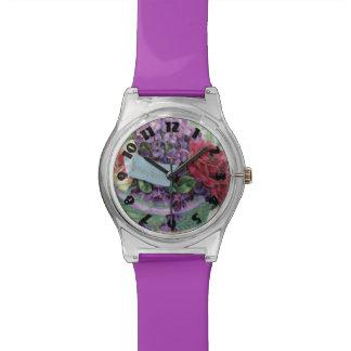 Voilet subió las flores florales de la cesta relojes de pulsera